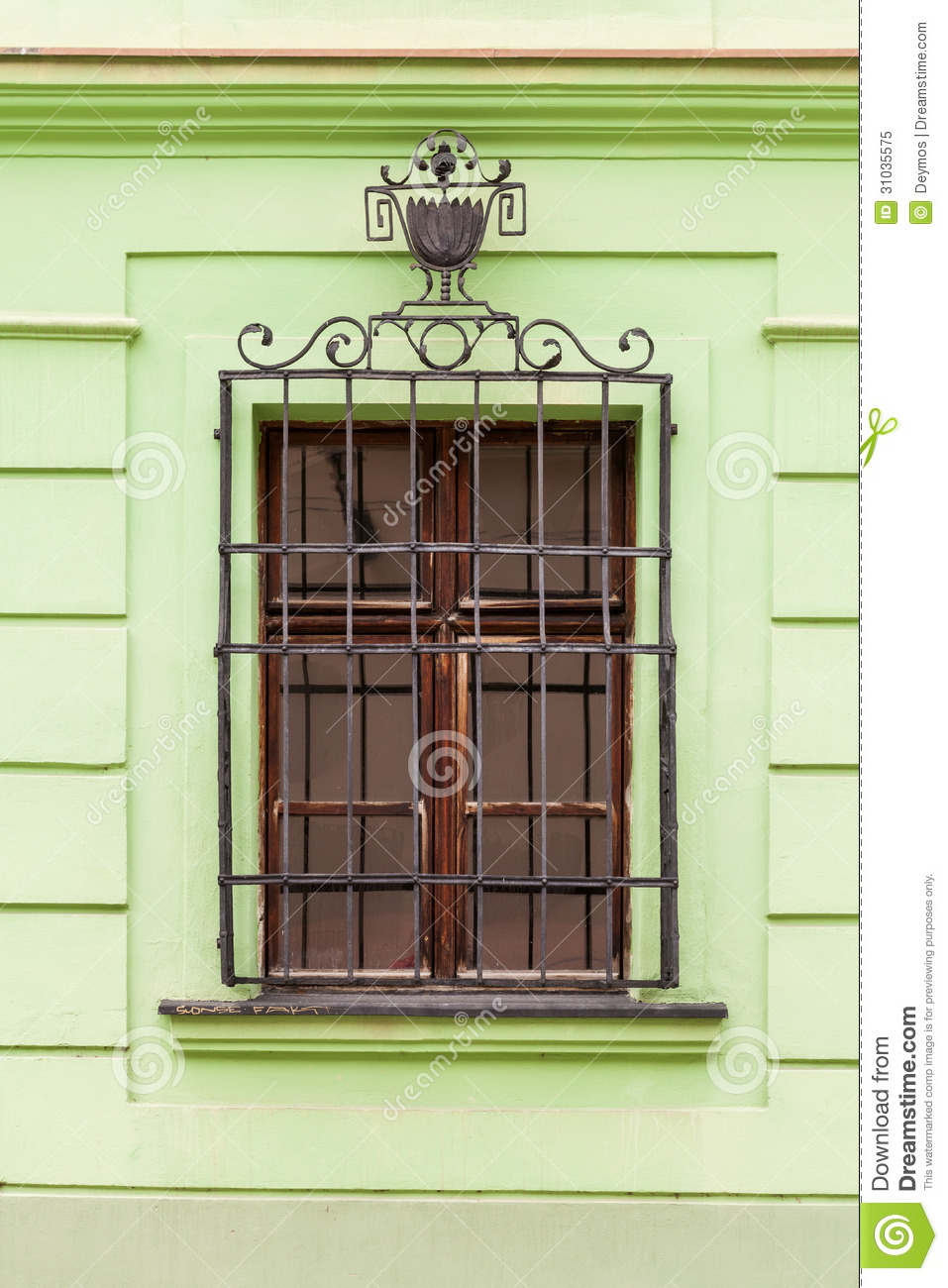 Window With Metal Security Bars Royalty Free Stock Photo