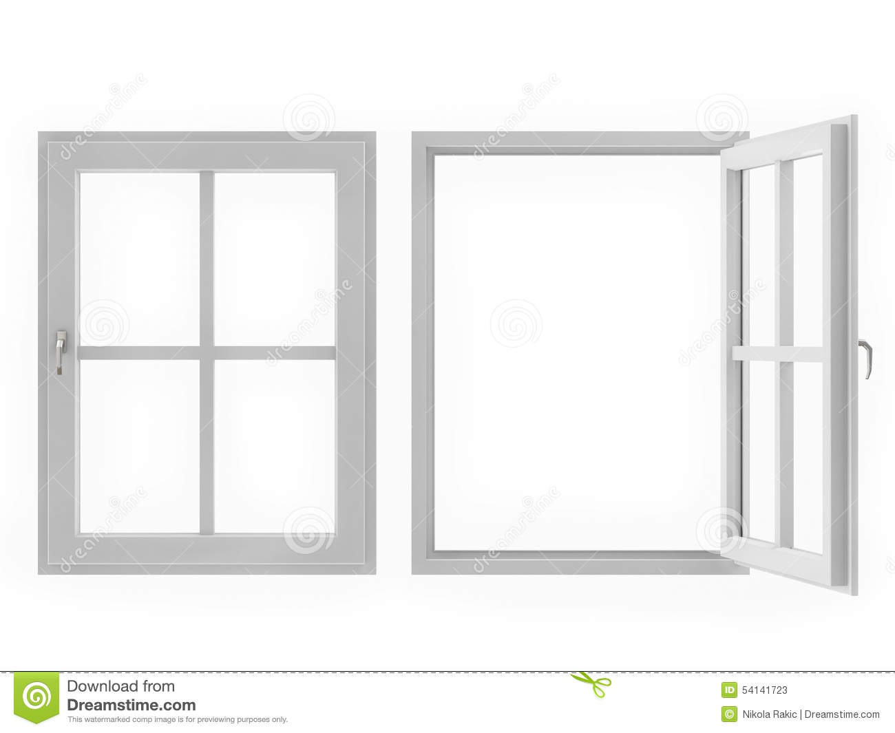 Window open and closed on white background stock for Fenster offen