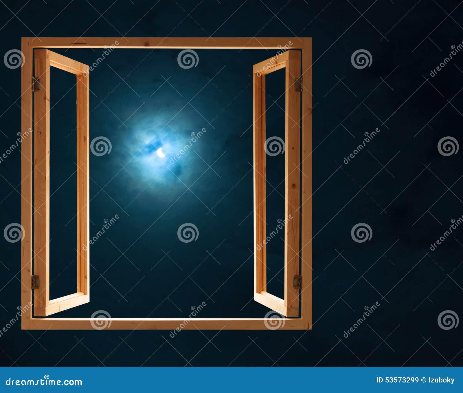 Open Window At Dusk: Window Open Dark Night Half Moon Light Stock Photo