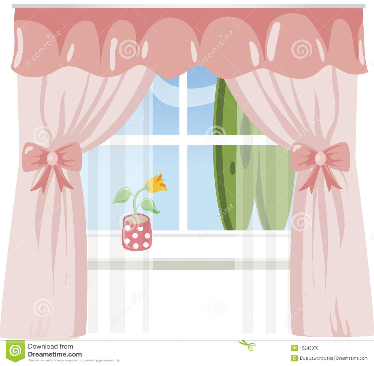 Window with pink curtains stock photo image 15245870
