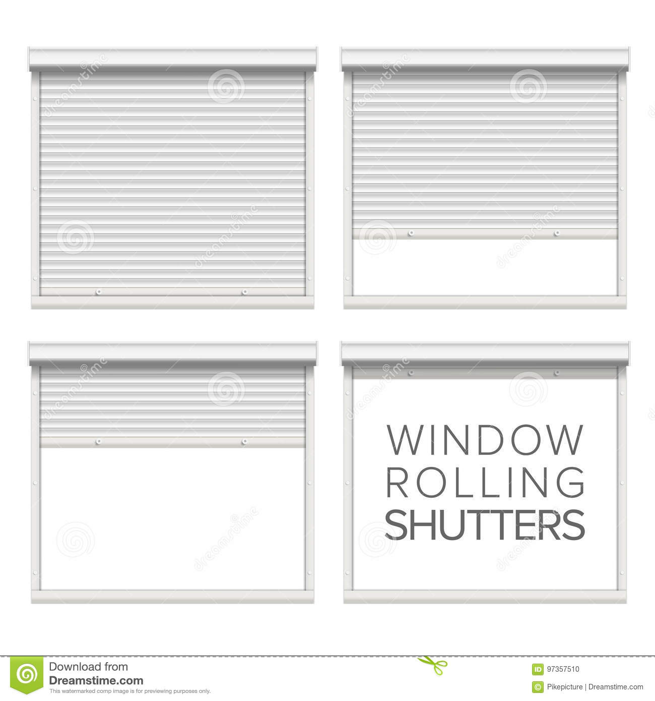 Window Roller Shutters Vector Opened And Closed Stock