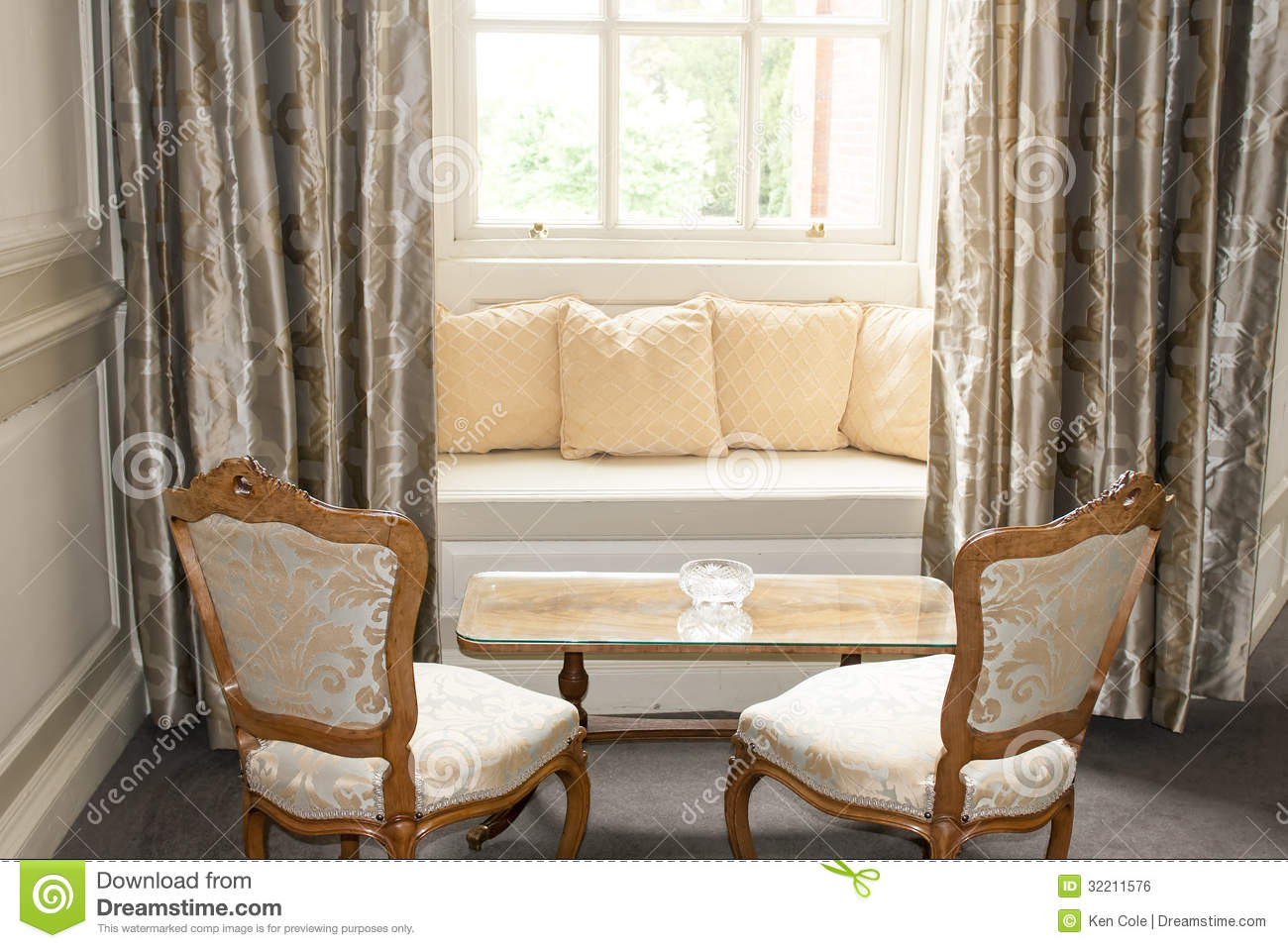 Window Seat And Drapes Stock Photo Image Of Windowed