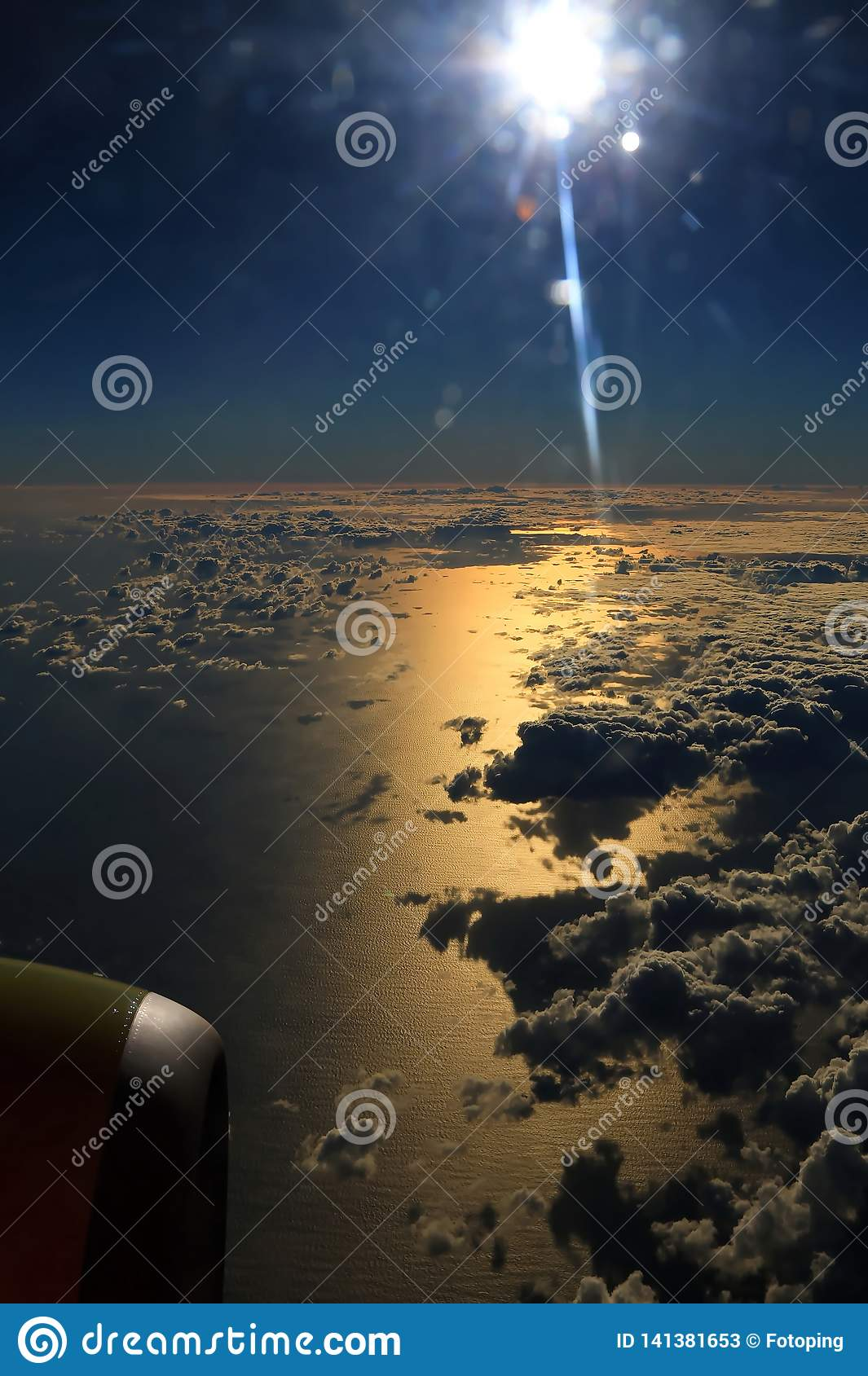 Window Seat A Flight In The Sunset And Night Stock Image Image