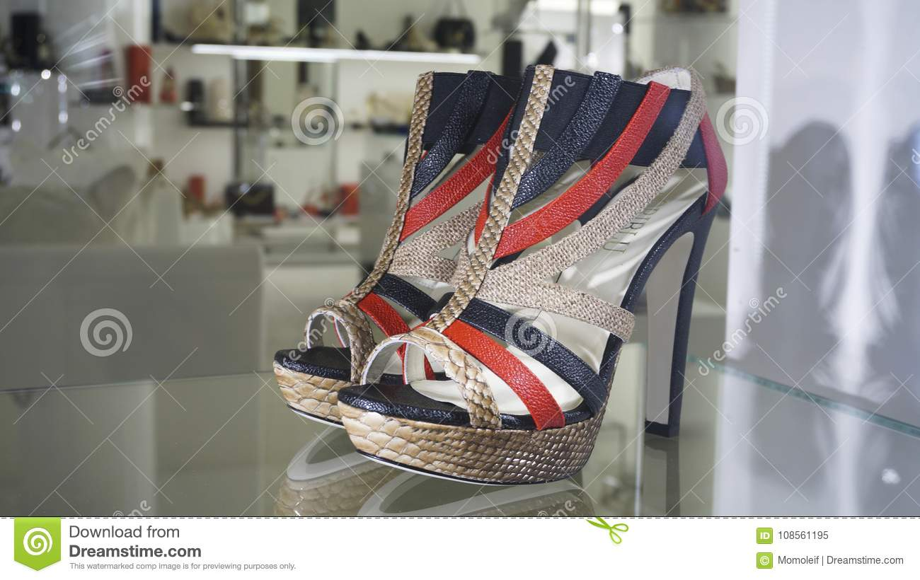 9d234bb0110 Window Shopping Luxury Fashion Shoes Editorial Image - Image of high ...