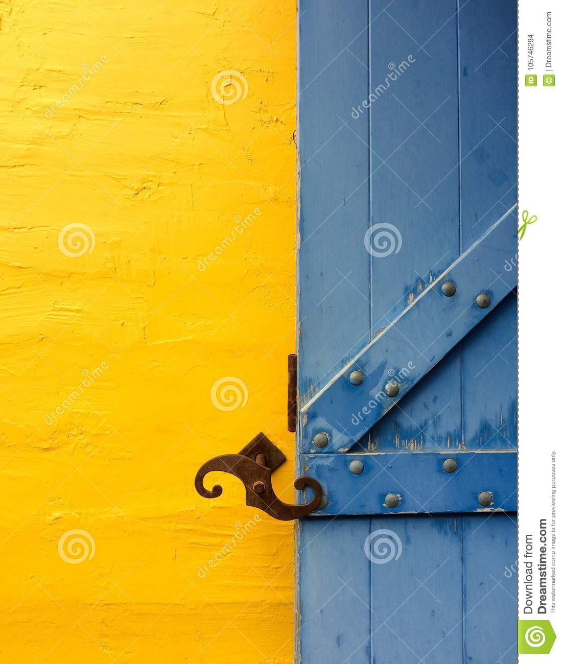 Window Shutter And Wall Display Complementary Colors Stock Photo ...