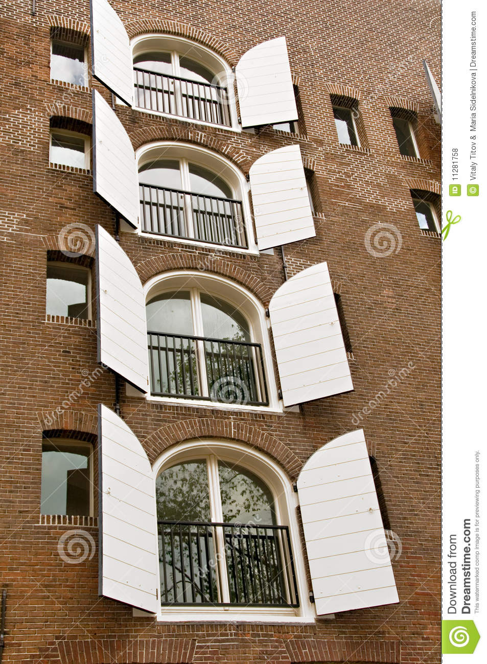 Window Shutters On Brick Building Stock Photo Image