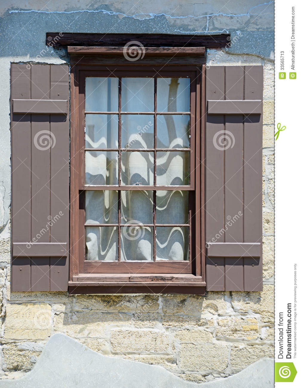 Window with shutters in medieval european village stock for European shutters
