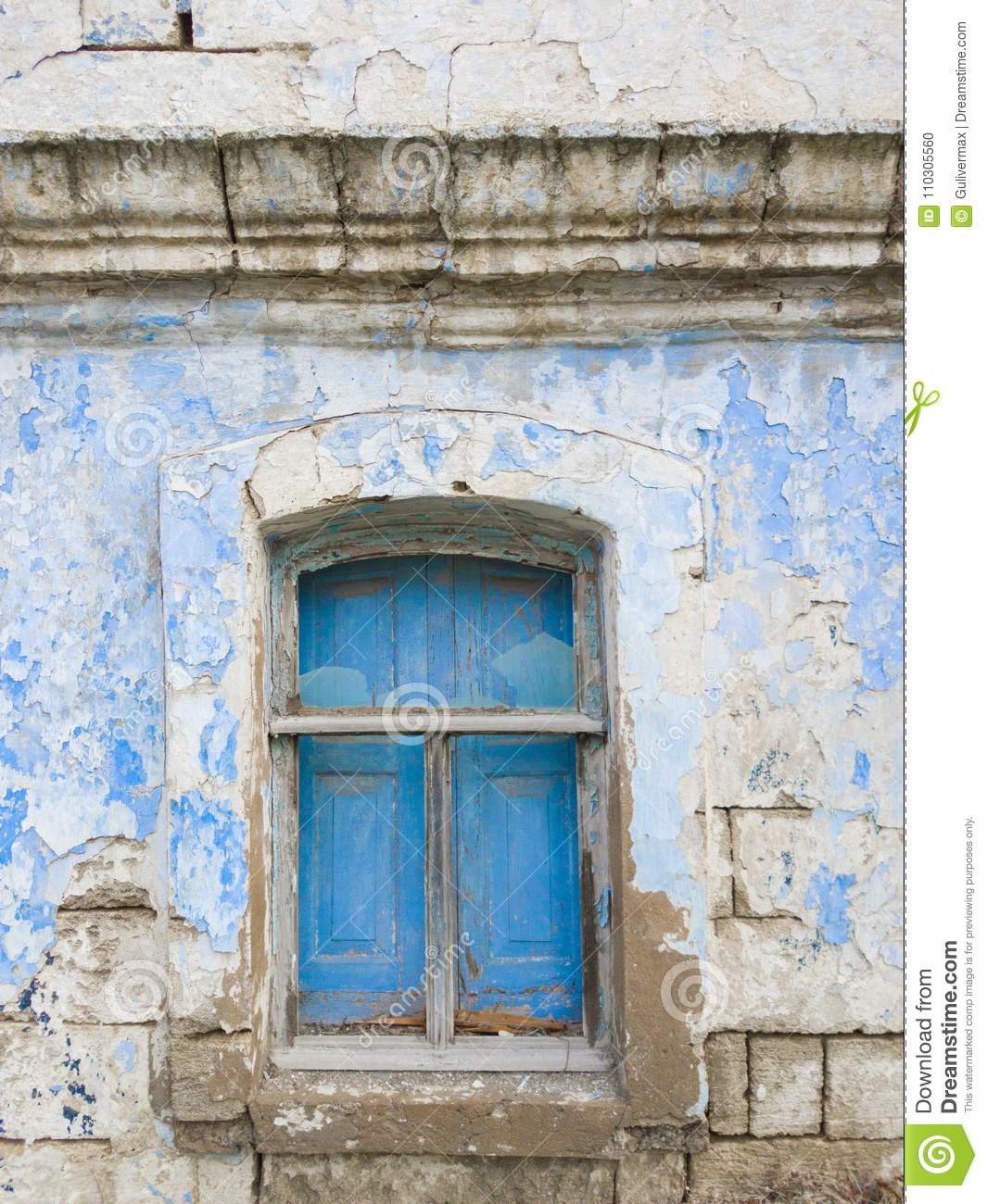 Window With Shutters In Old Abandoned House Stock Photo