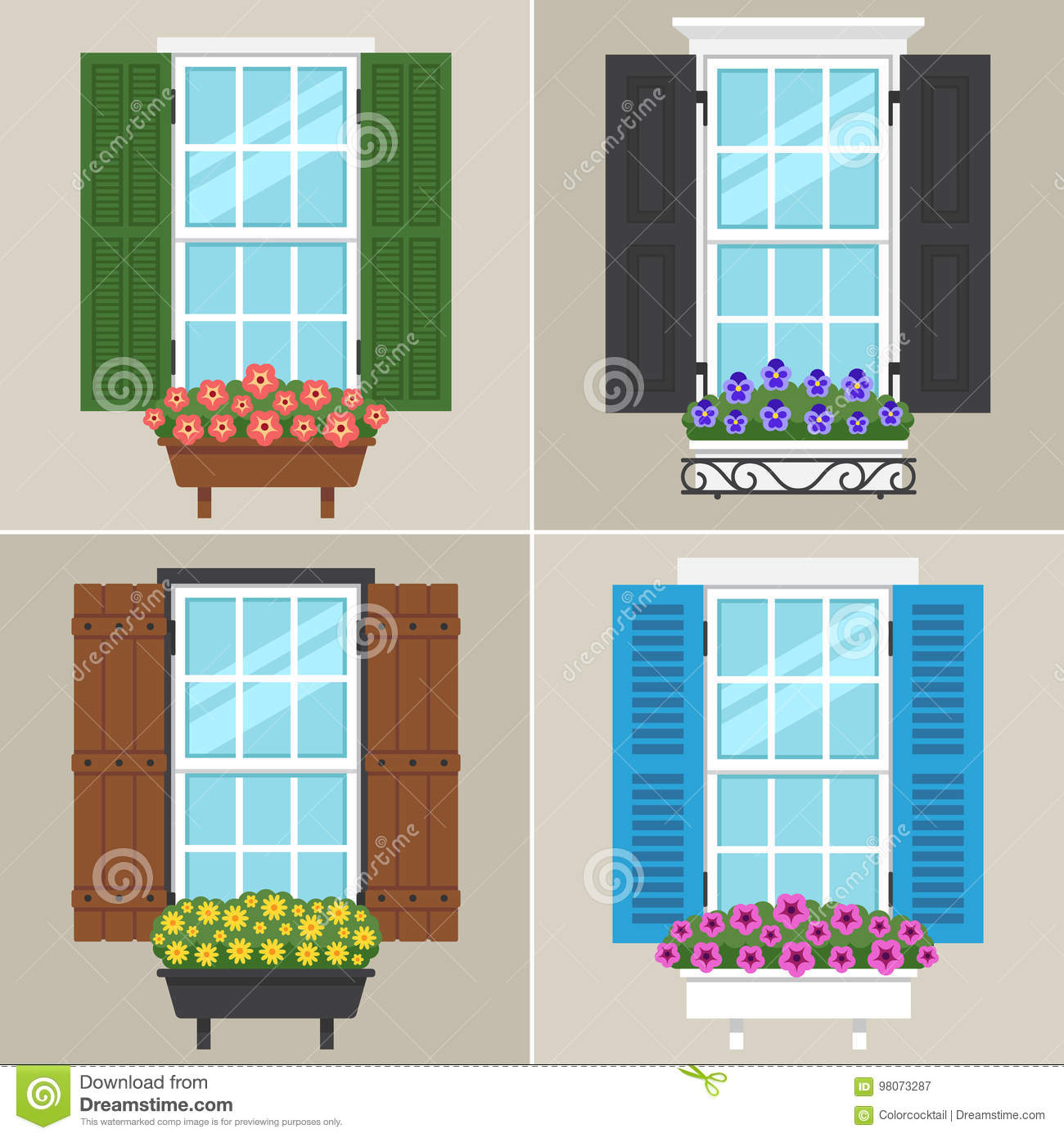 window shutters stock vector illustration of house outdoor 98073287