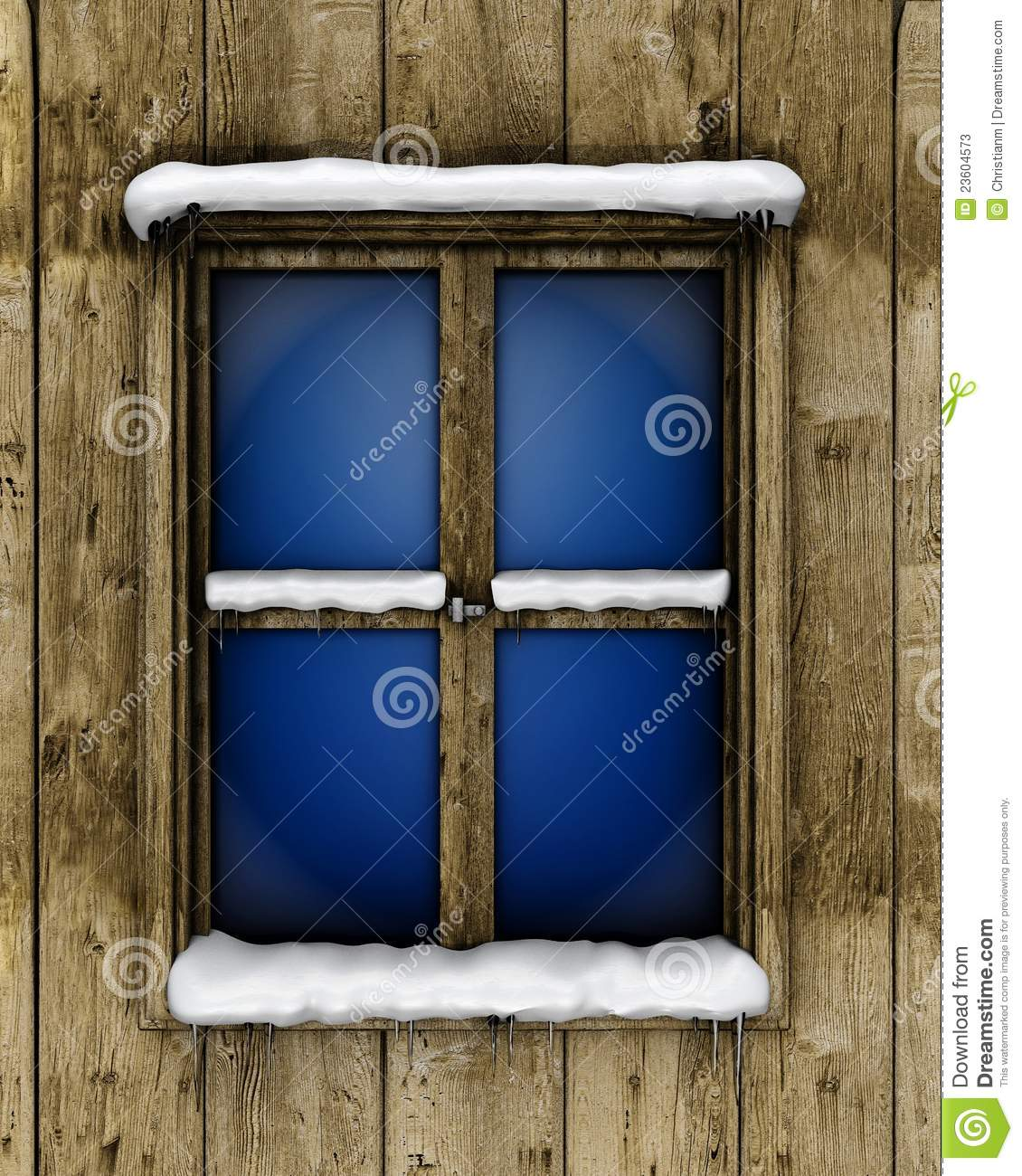 Window with snow stock illustration. Image of cabin, cosy ...