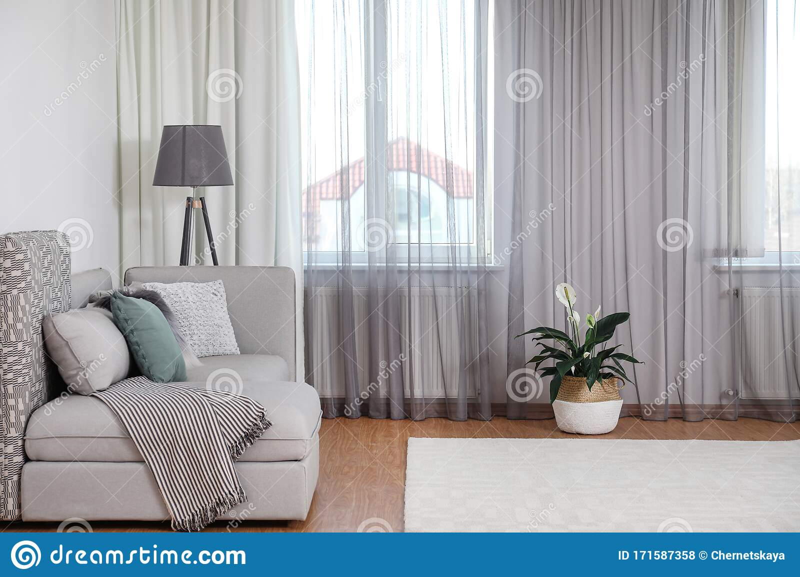 Window With Stylish Curtains In Living Room Stock Photo Image Of Modern House 171587358