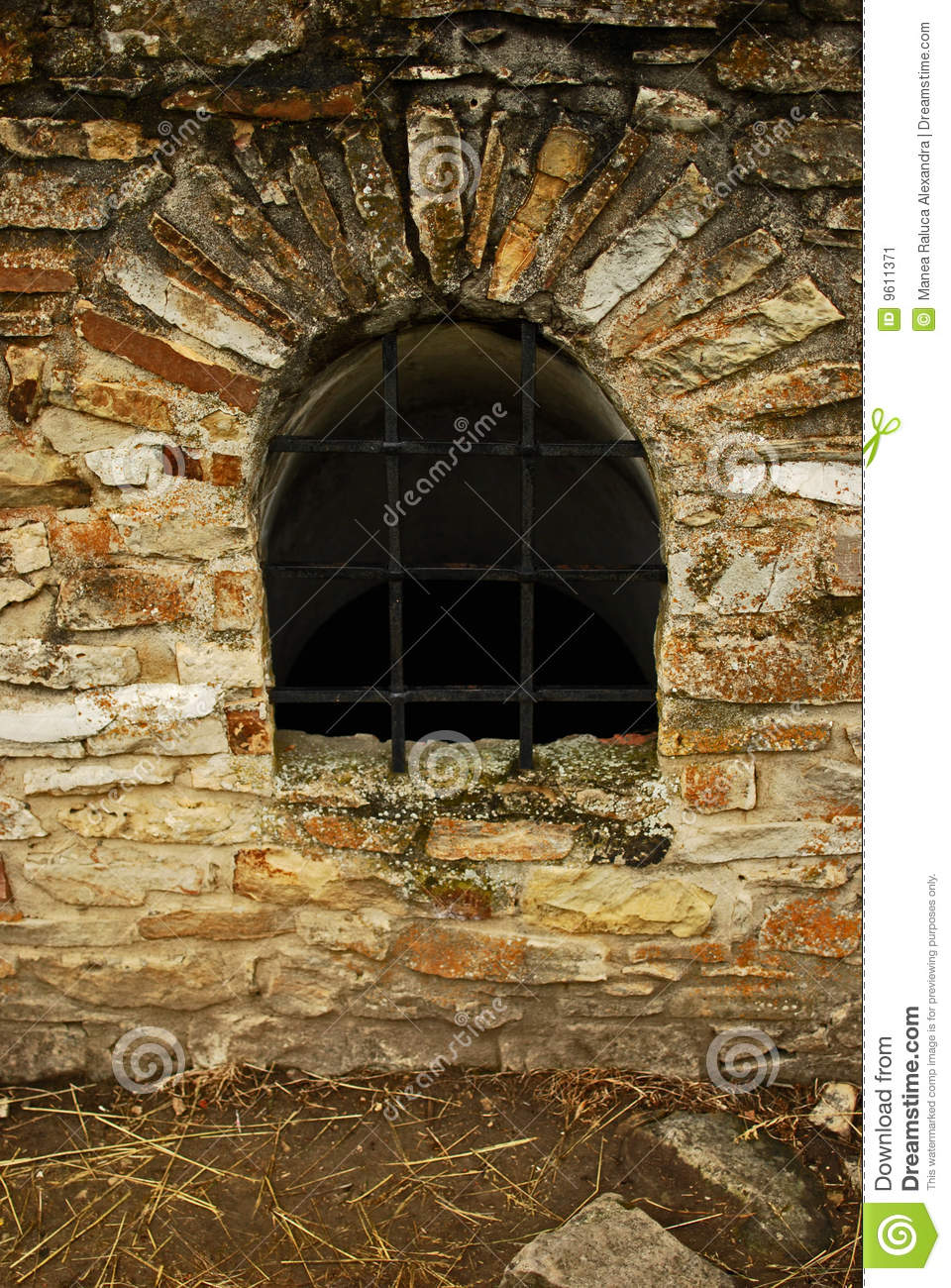 Window in Suceava s fortress ruins