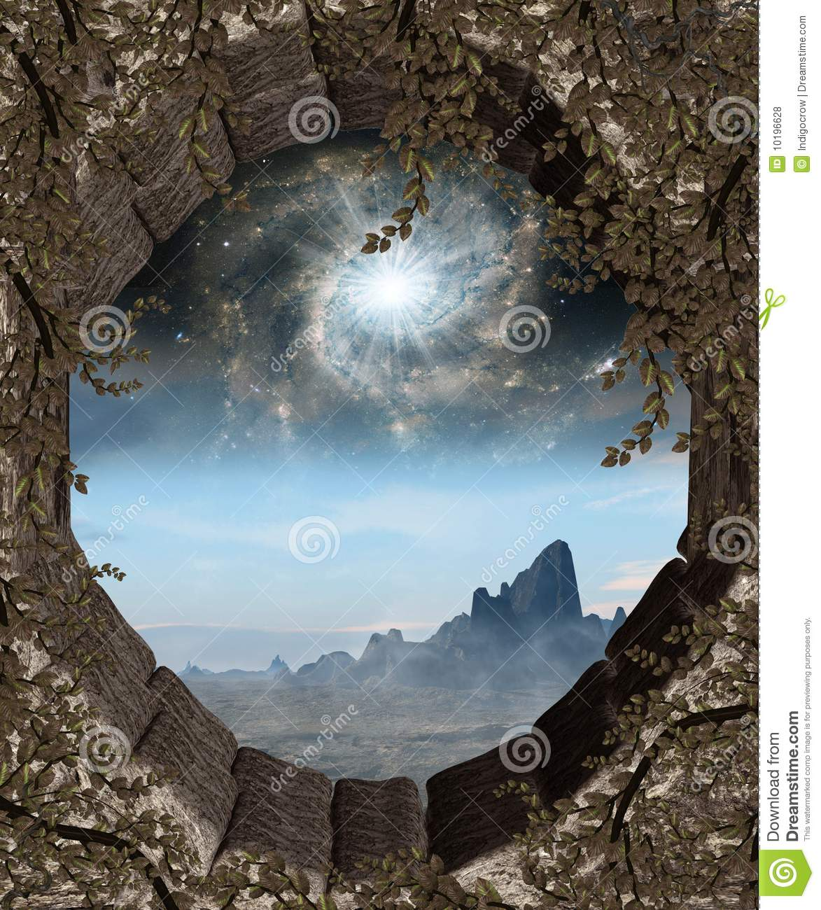Window To Another World Stock Illustration Image Of Rocks