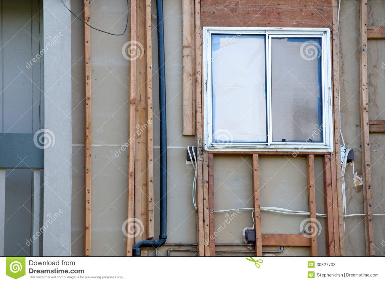 Window under construction empty space left with framework for New construction windows reviews