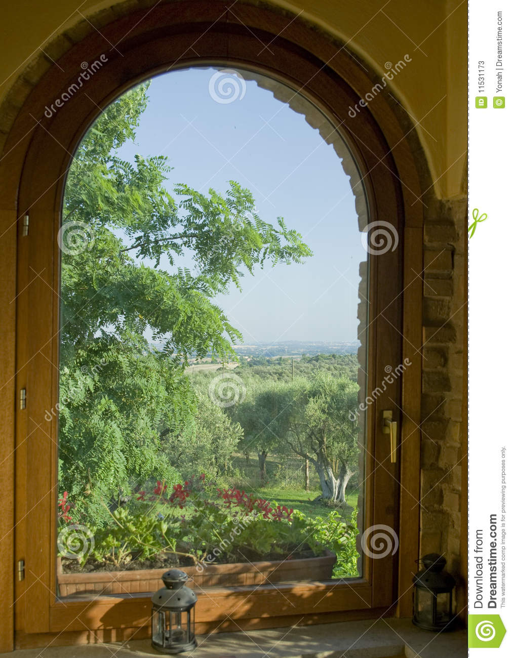 Window View With Olive Trees Stock Image Image Of