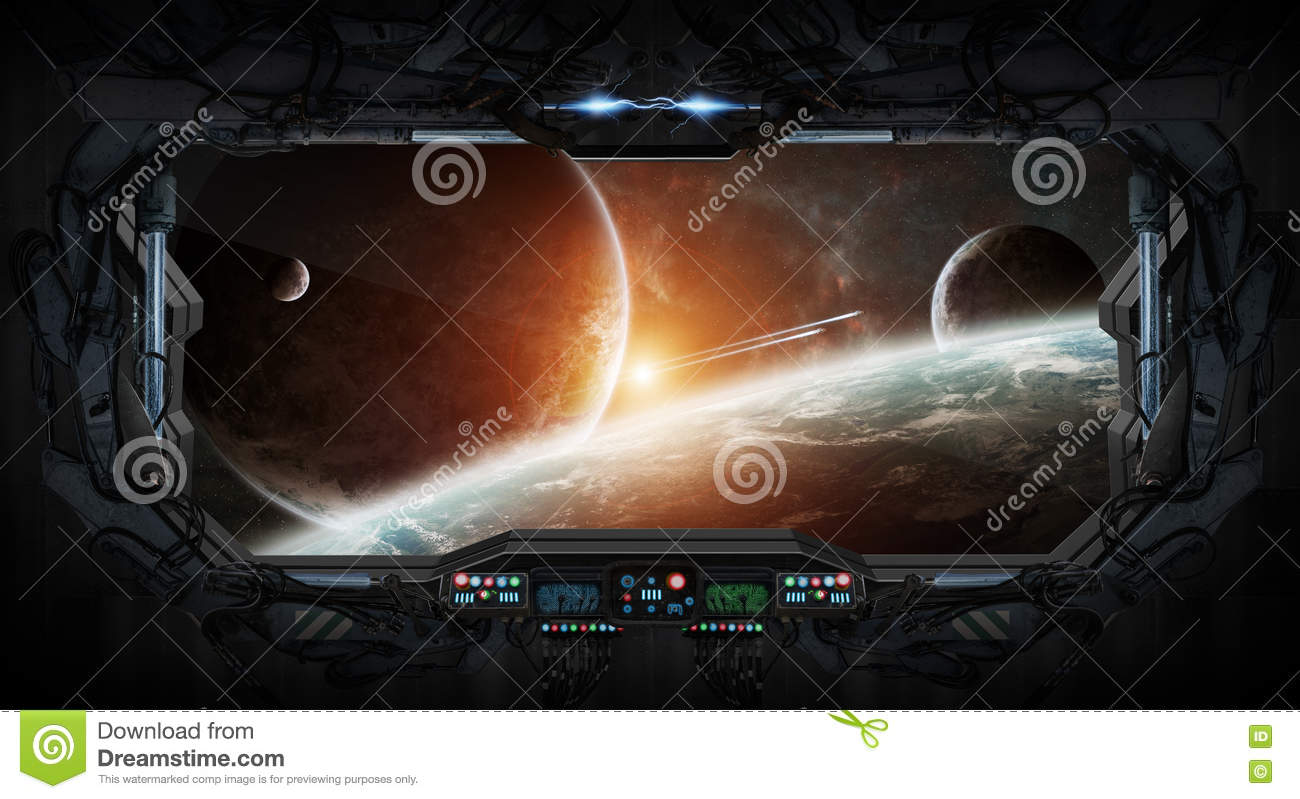 Window View Of Space And Planets From A Space Station