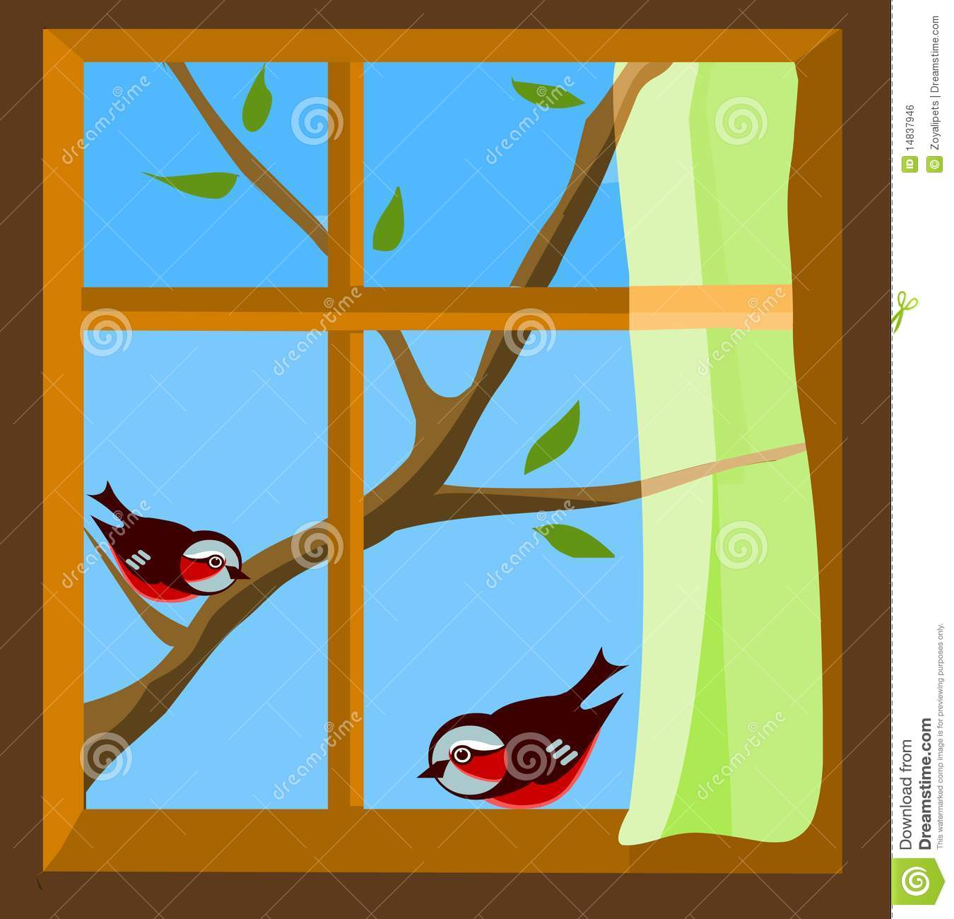 window with a view to two birds on spring branch royalty tree trunk clip art brown tree trunk clipart free