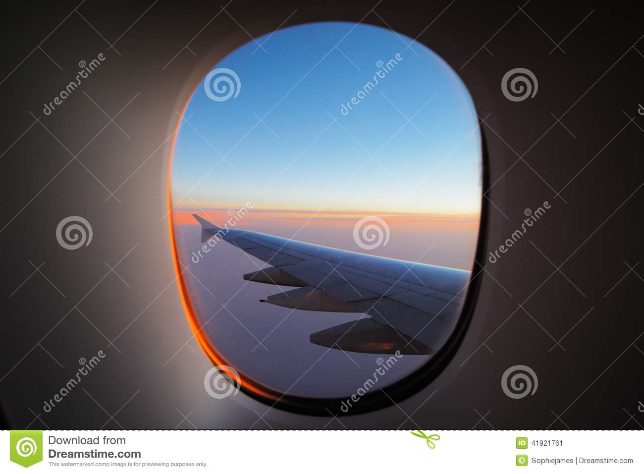 Download A Window View Of The Wing At Dawn Stock Image - Image of commercial, freedom: 41921761