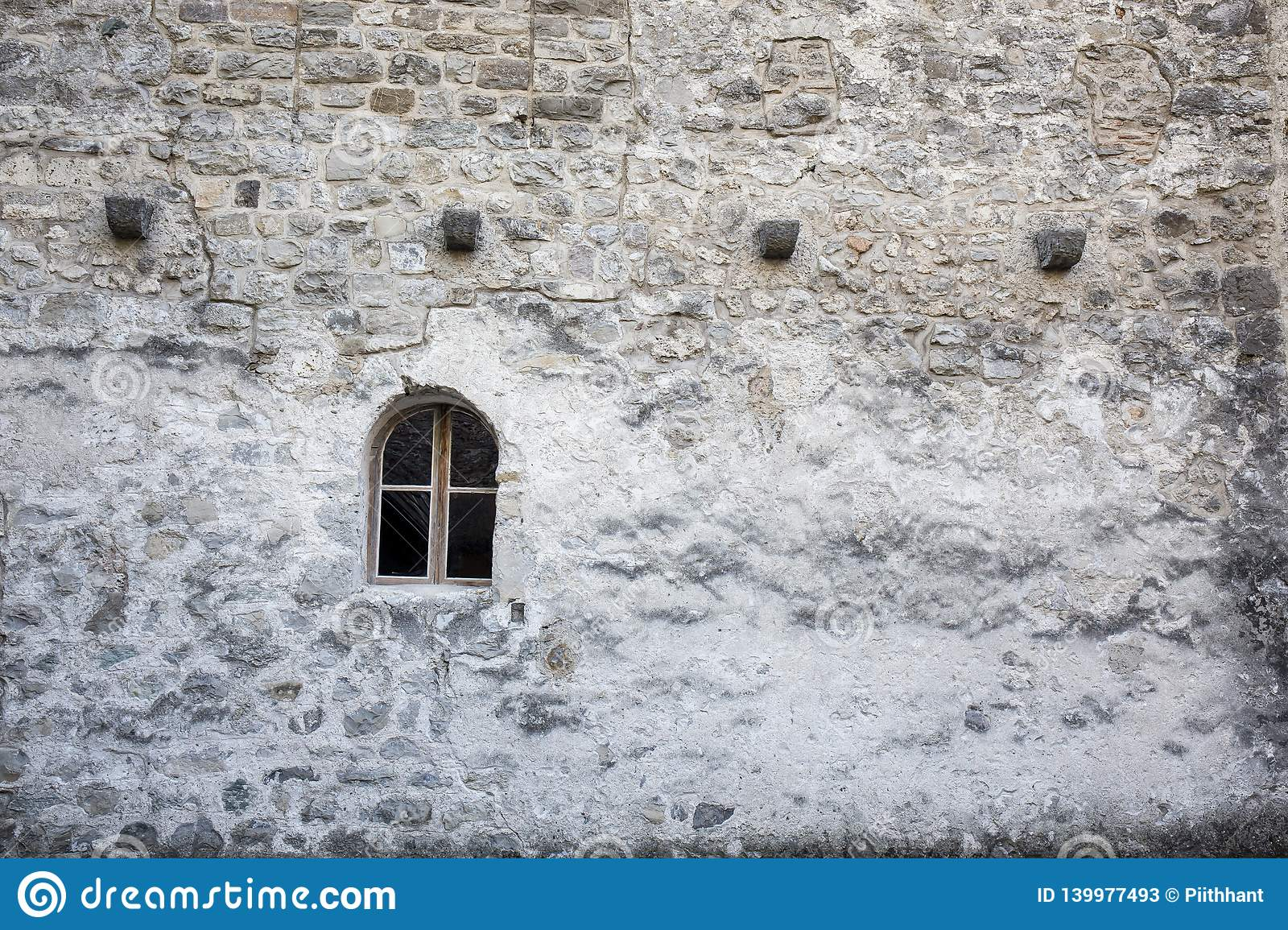 Window on the wall at Chillon castle - Veytaux, Switzerland