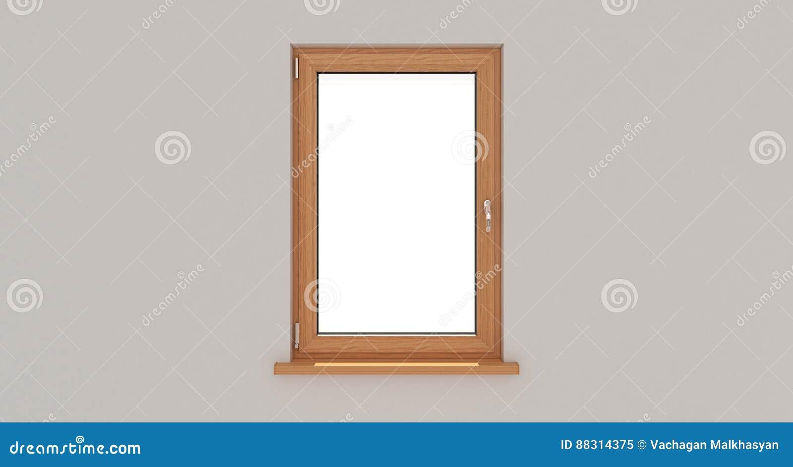 Window. White Wall. Window. Wooden Window. 3d. 3D Rende Stock ...