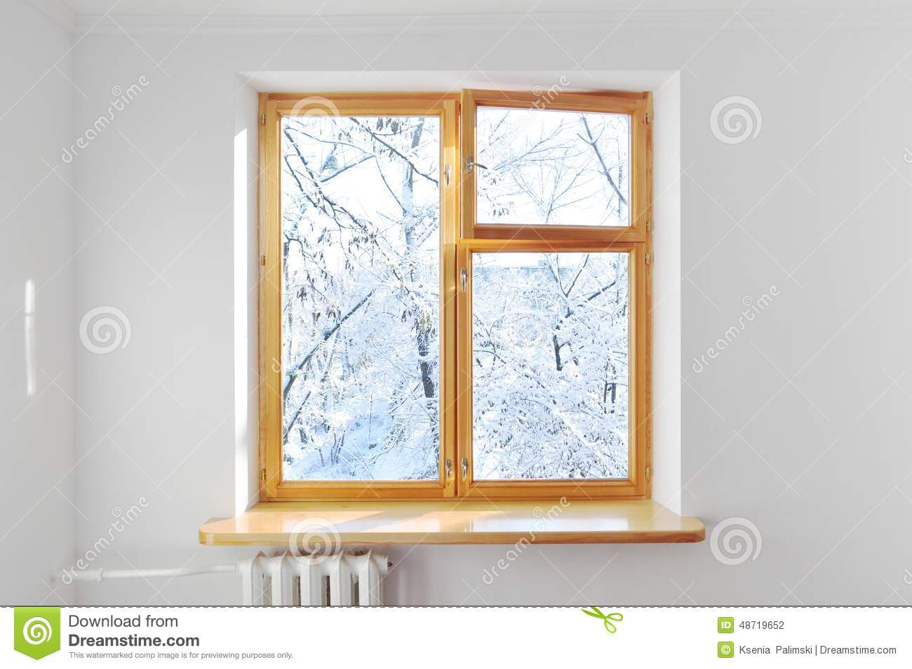 Window White Wall Winter Outside Stock Photo - Image of nobody, room ...