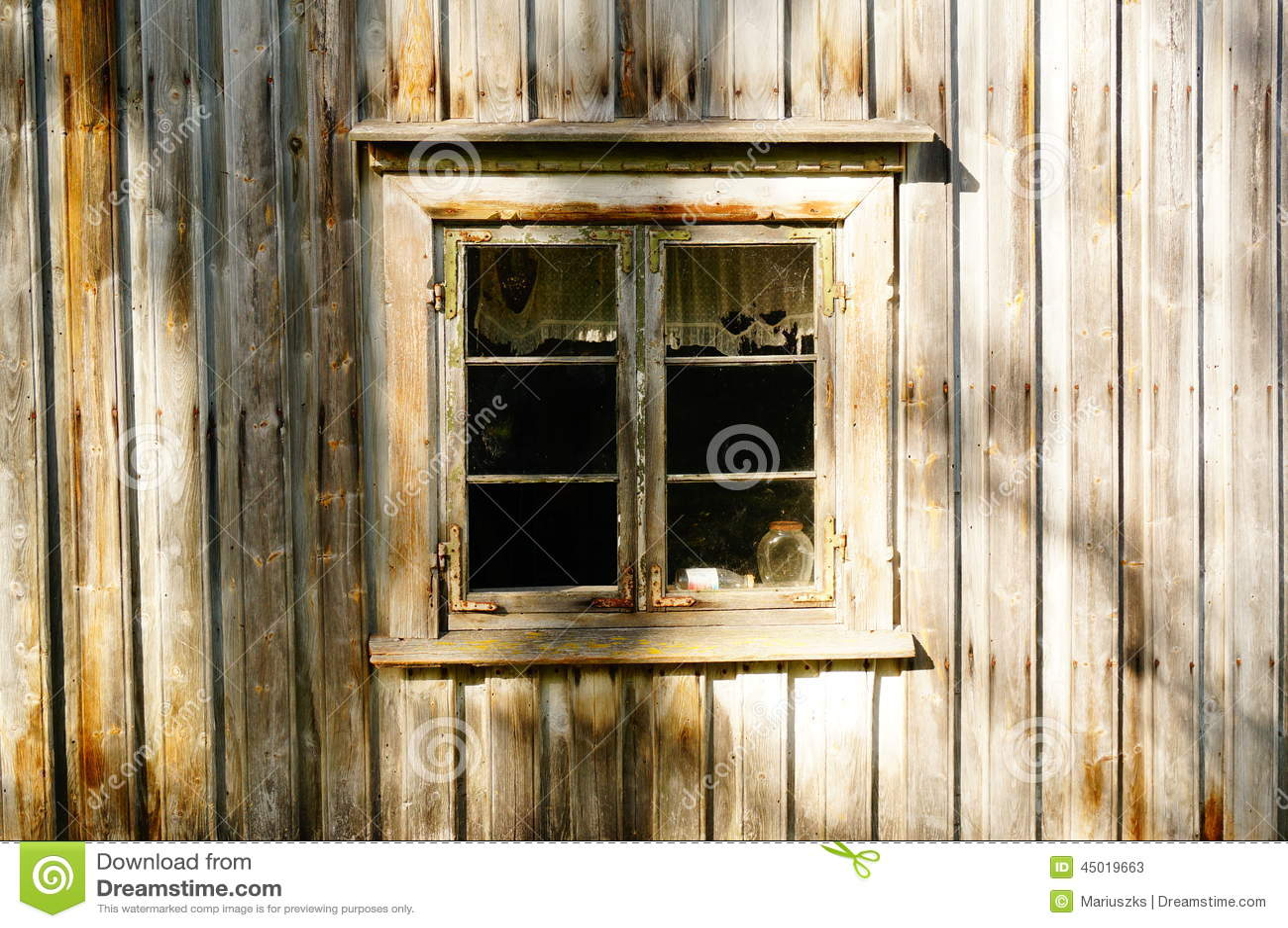 Window wood in old farm house, Norway