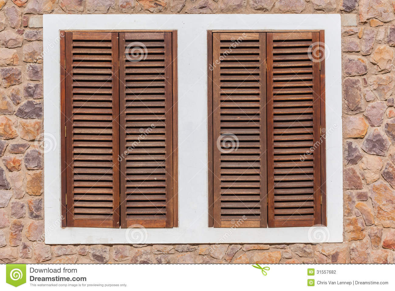 Wood Shutters Closed : Window wood shutters stone stock photography image