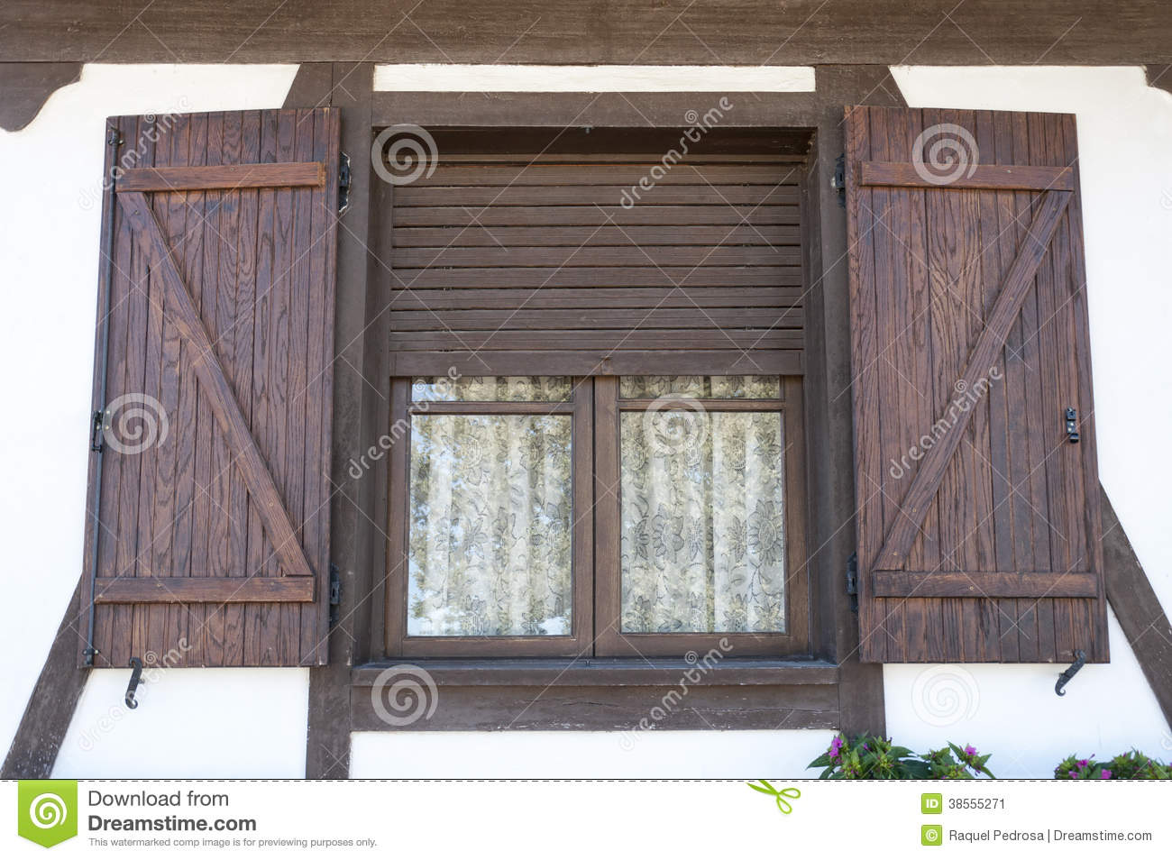 Window With Wooden Shutters Stock Image Image 38555271