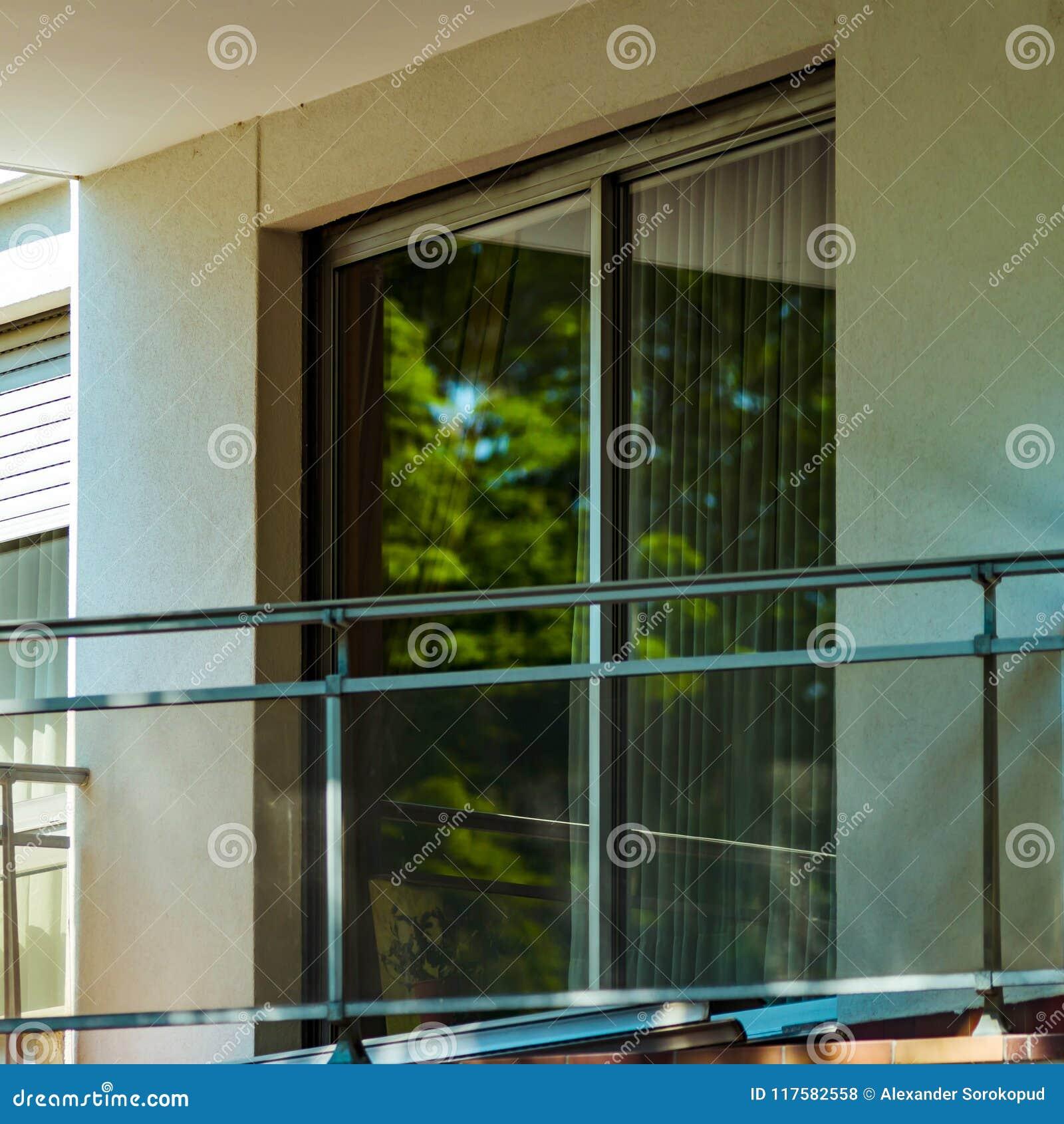 Windows And Balcony, Modern Apartment House Stock Photo