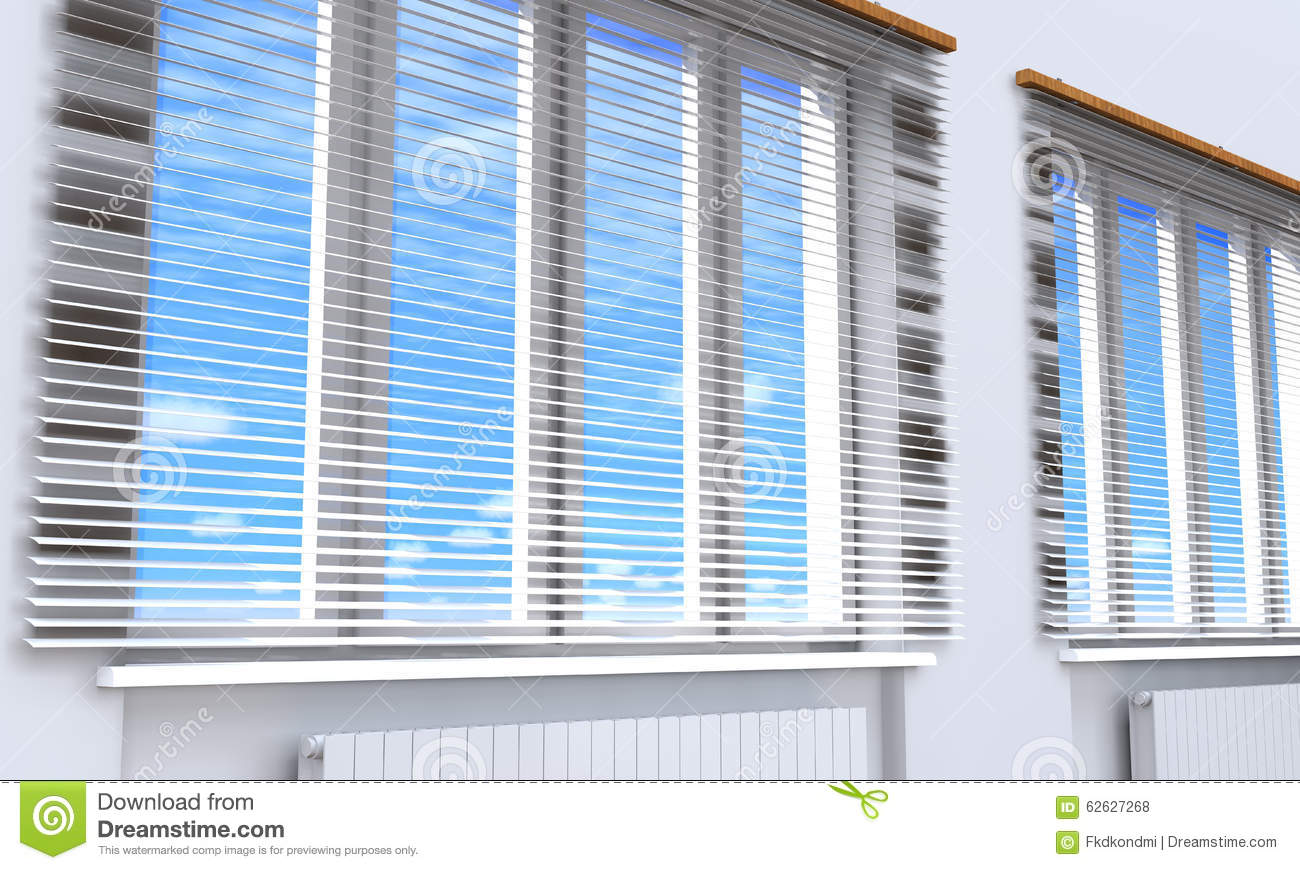 Download windows with blinds in the room stock illustration illustration of blue radiator