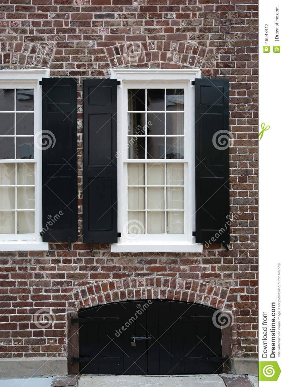Stock Photo Windows Brick Wall Black Shutters White Window Basement Access South Carolina Image49048412 on italian villa design