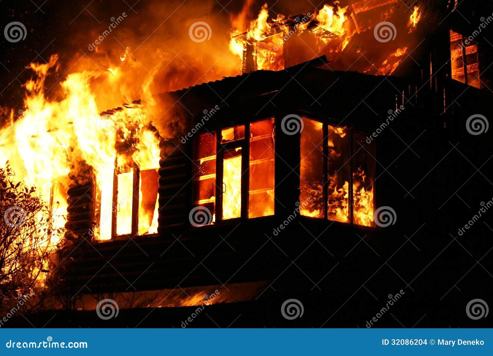 Windows Of The Burning House Stock Images Image 32086204
