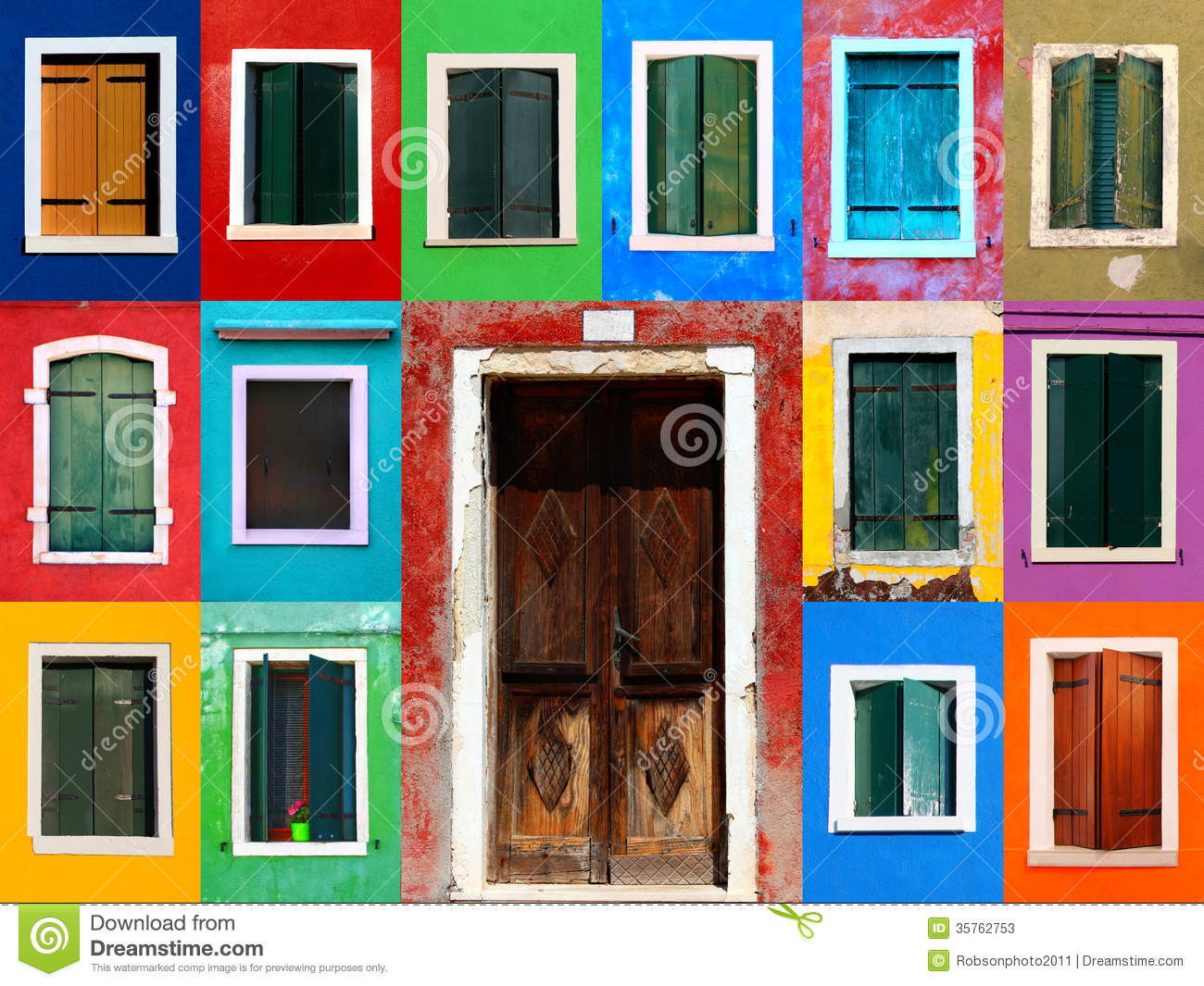 Windows collage with door stock image  Image of burano