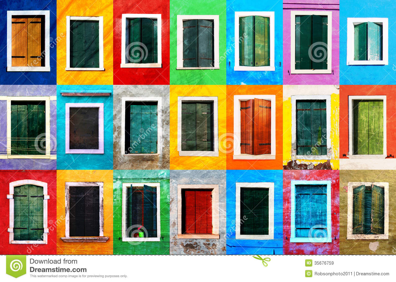 Collage of colorful grunge windows with frames on Burano island