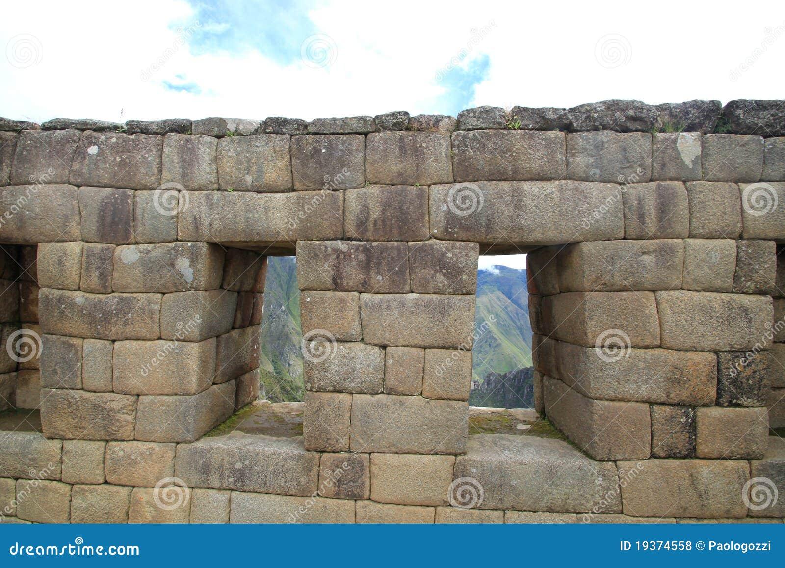 Windows do templo do Inca de Machu Picchu