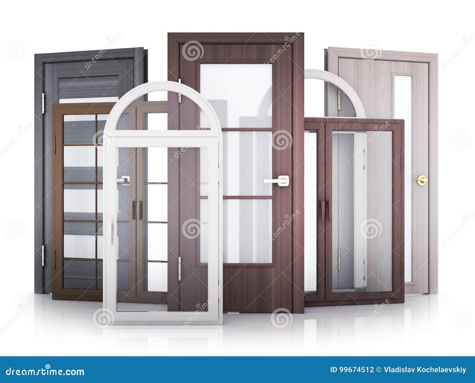 Windows et portes sur le fond blanc