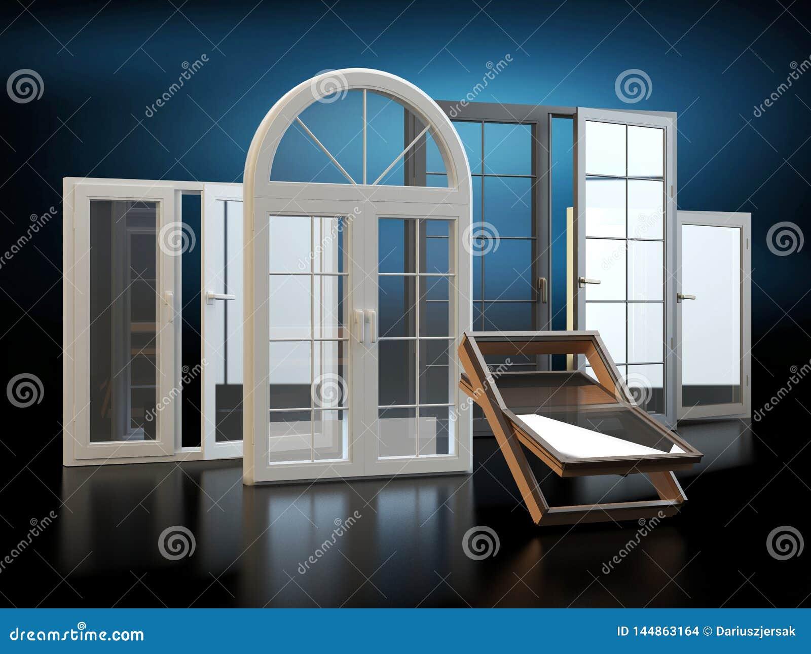 Windows - fond foncé, illustration 3D