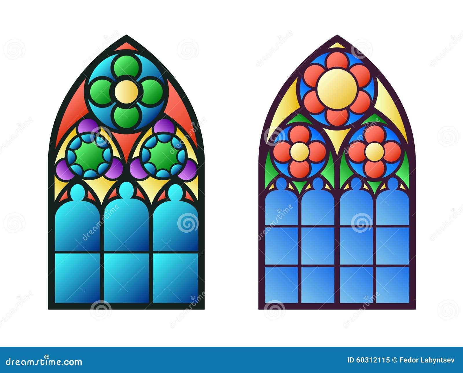 Windows Gótico Marcos Del Vintage Ventanas De Cristal De Colores De ...