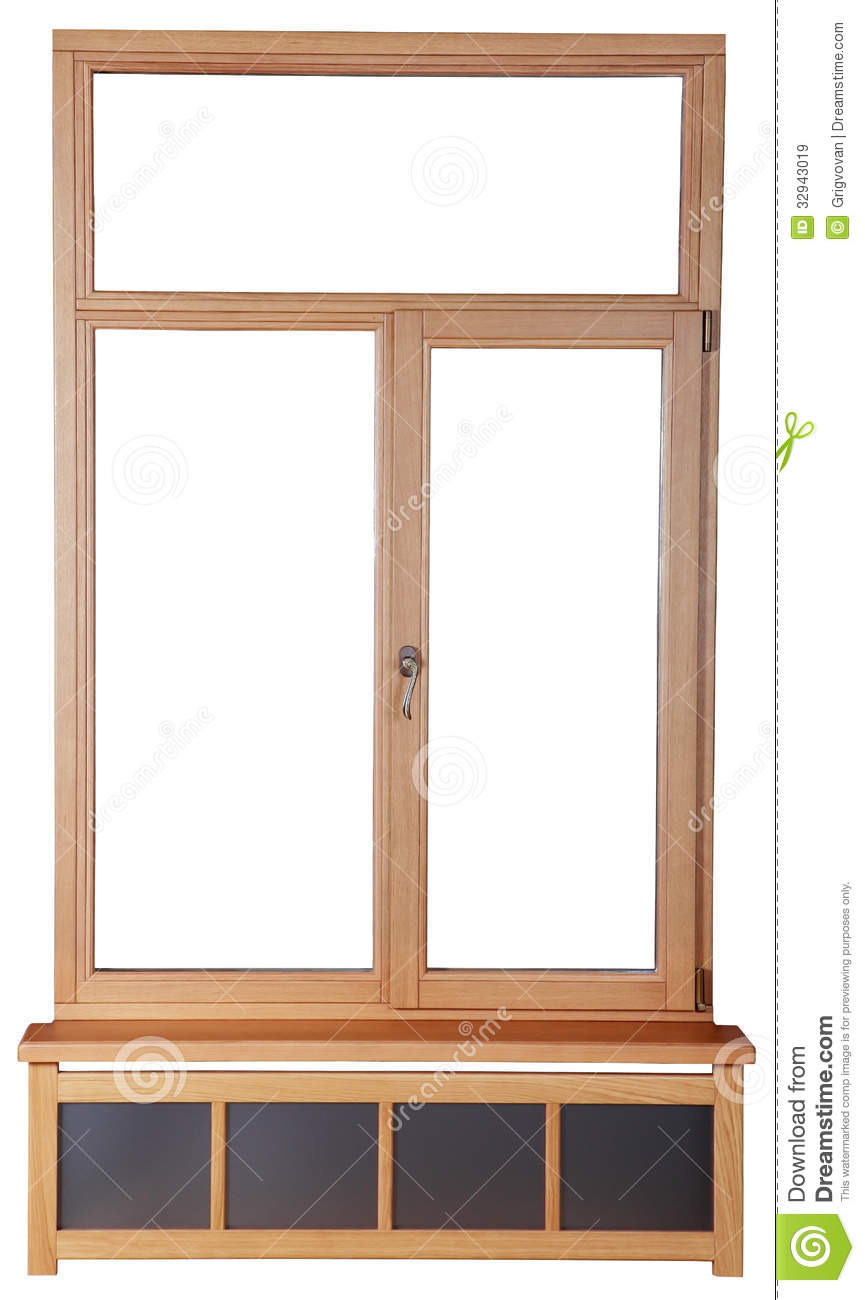 Windows with glass and the frame of a wooden beam