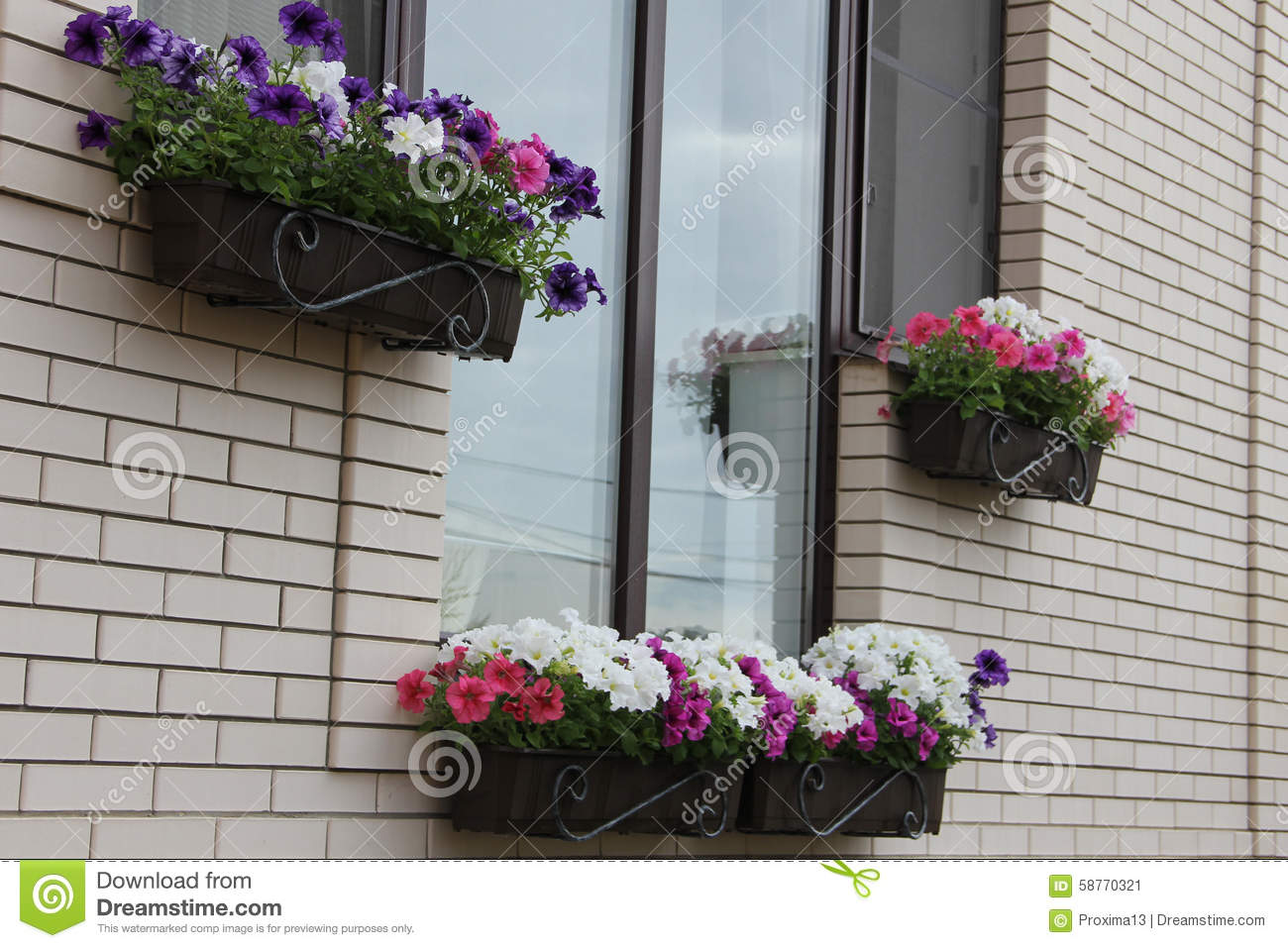 boxes decorated decoration exterior flower flowering hanging home - Home Decorated