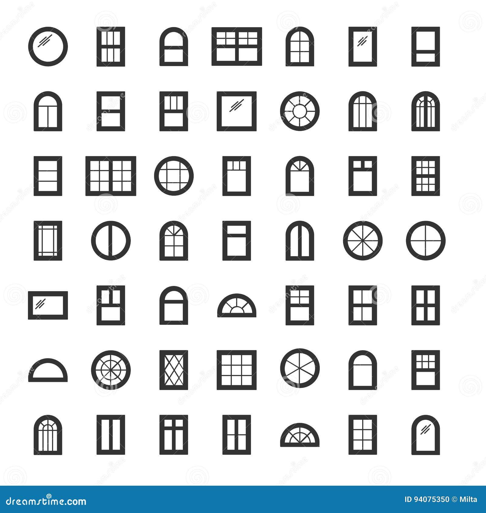 windows icon collection set of line window contours