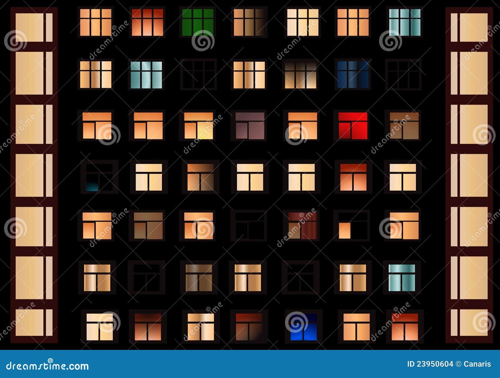 Night Windows Royalty Free Stock Photo - Image: 10600355
