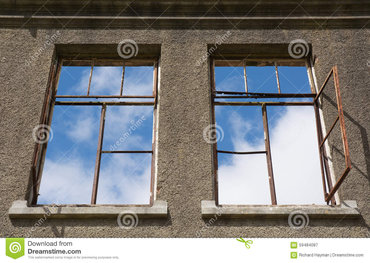 Windows in a roofless old house stock photo image 59484087 for Window up above