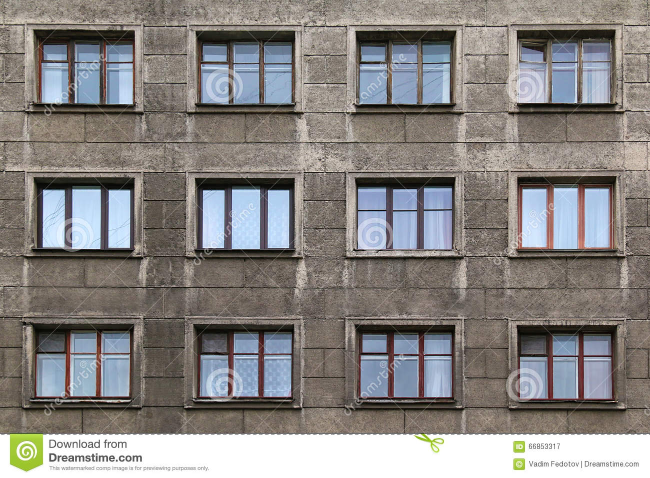 Windows in a row on facade of apartment building stock Building facade pictures