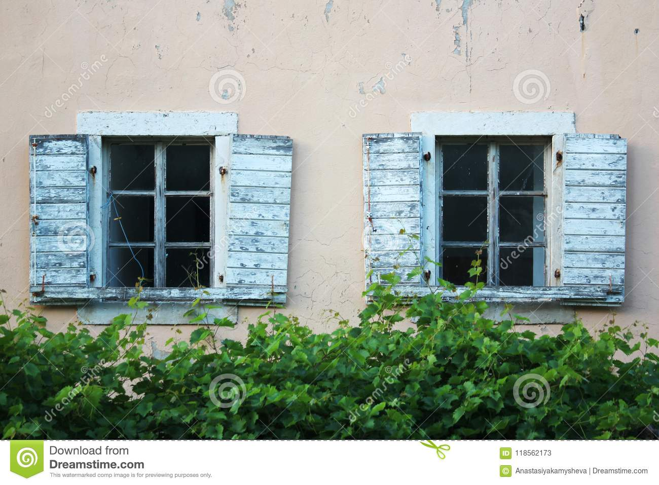 Old Windows In Budva Montenegro Stock Image Image Of