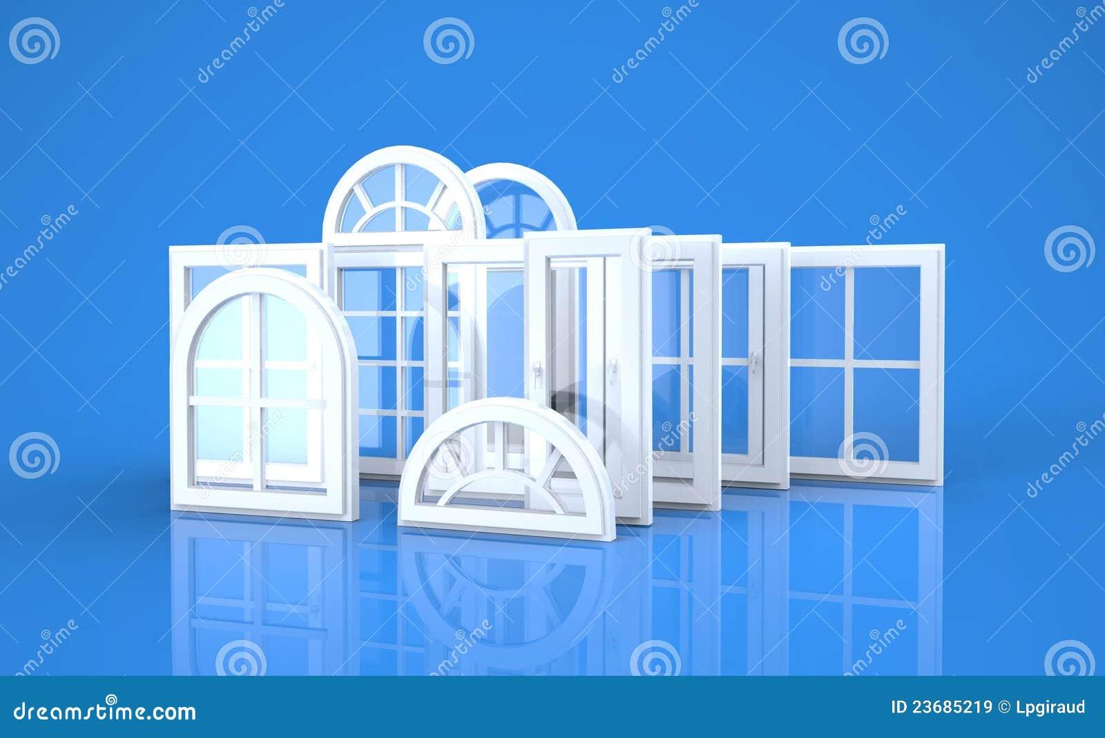 Windows und blauer Hintergrund