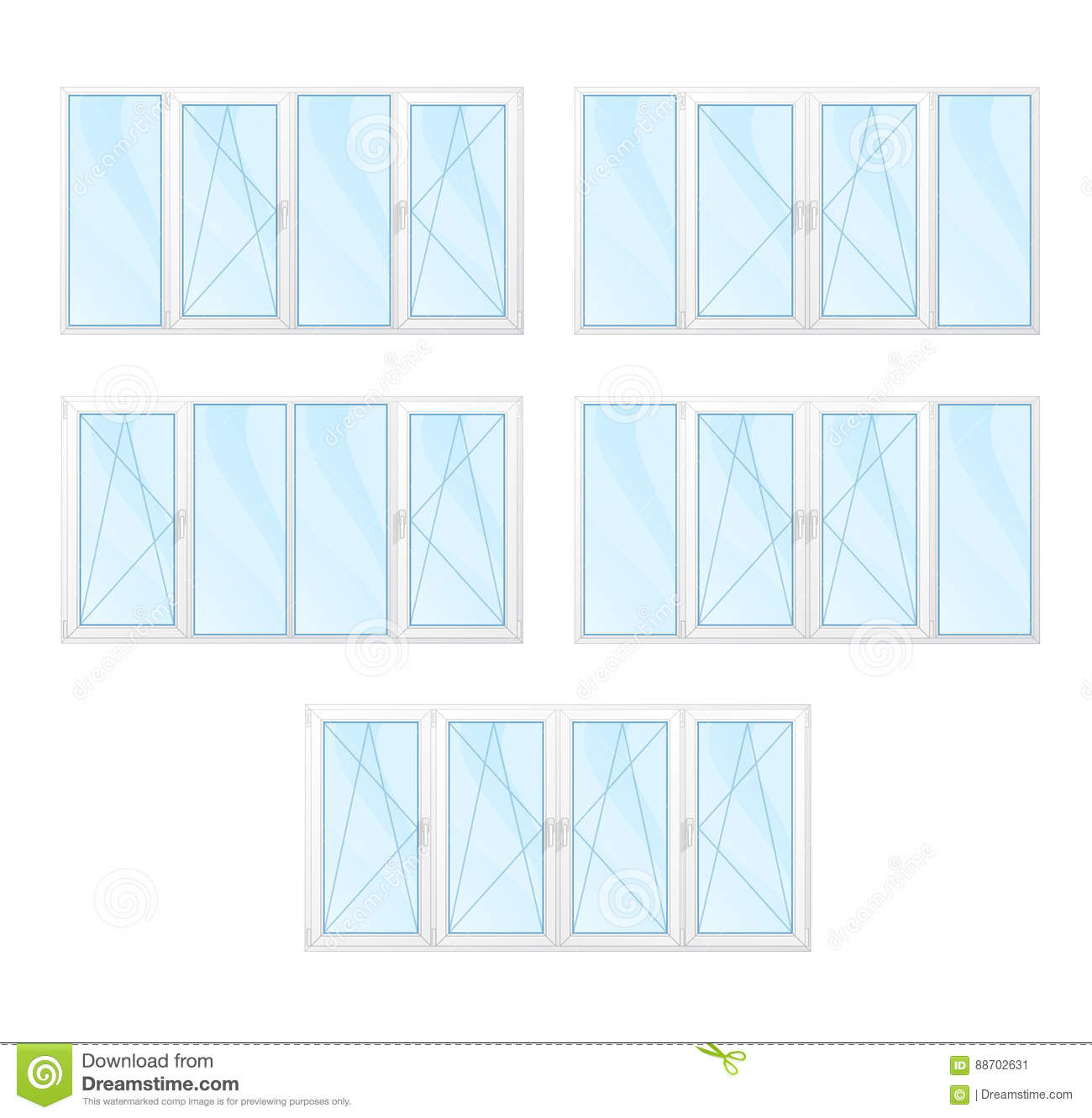 Windows With White Frames And Blue Glass Set Isolated Stock ...