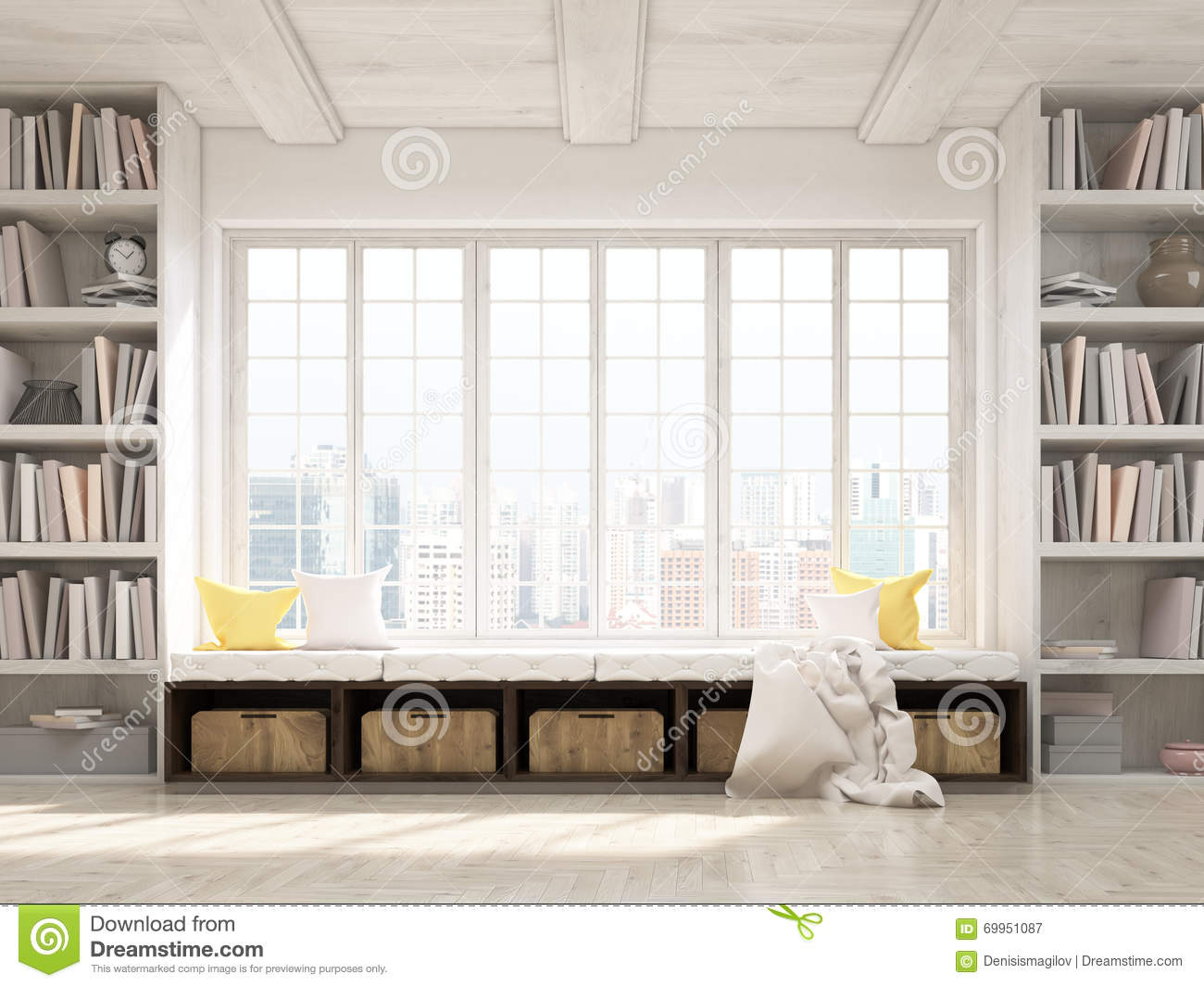 bookshelves city design interior rendering seat view windowsill ...