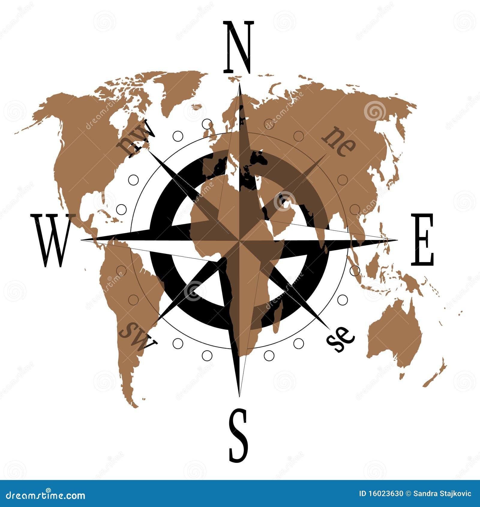 Windroos Met Wereldkaart Stock Foto Afbeelding 16023630