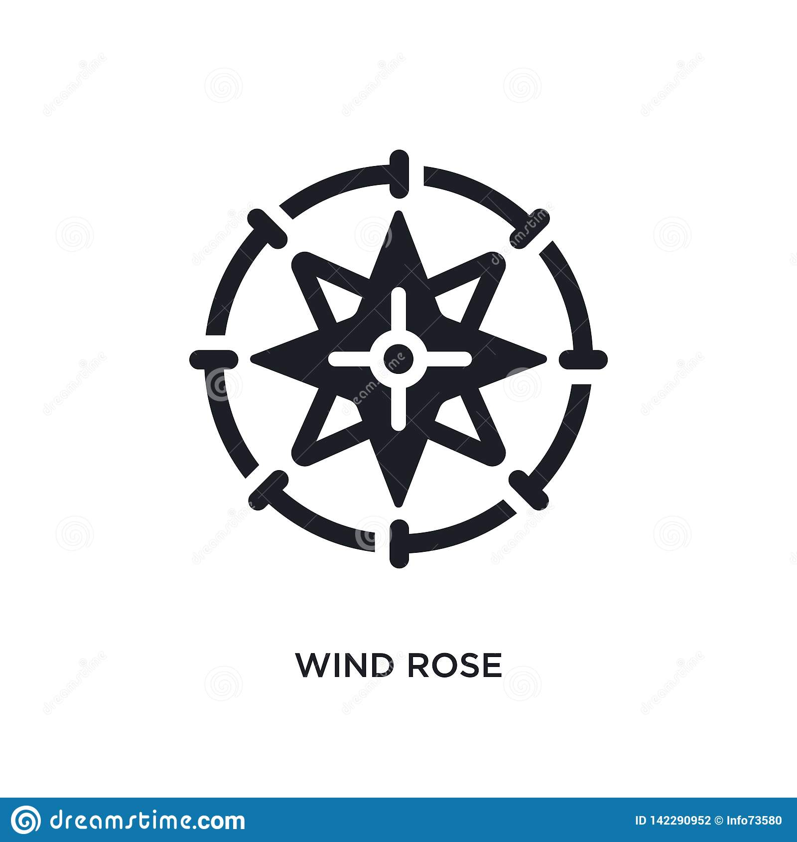 Windrose lokalisierte Ikone einfache Elementillustration von den Seekonzeptikonen Logozeichen-Symbolentwurf der Windrose editable